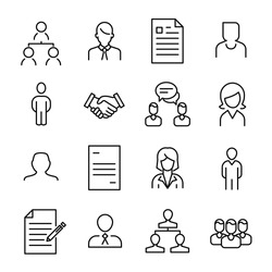 Simple collection of recruitment related line icons. Thin line vector set of signs for infographic, logo, app development and website design. Premium symbols isolated on a white background.