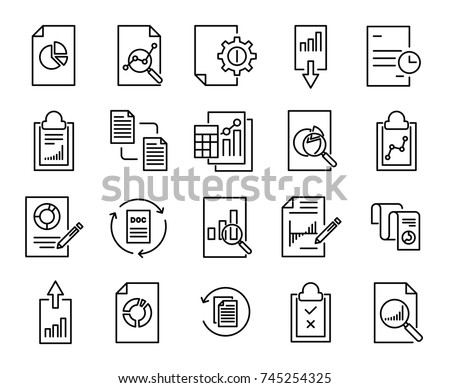 Simple collection of report related line icons. Thin line vector set of signs for infographic, logo, app development and website design. Premium symbols isolated on a white background.