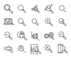 Simple collection of research related line icons. Thin line vector set of signs for infographic, logo, app development and website design. Premium symbols isolated on a white background.