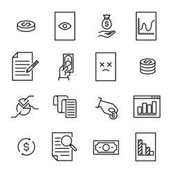 Simple collection of tax related line icons. Thin line vector set of signs for infographic, logo, app development and website design. Premium symbols isolated on a white background.
