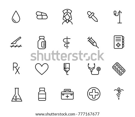 Simple collection of vaccination related line icons. Thin line vector set of signs for infographic, logo, app development and website design. Premium symbols isolated on a white background.