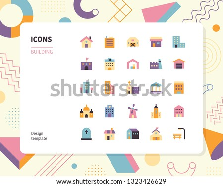 Simple color building icon set. Pattern background layout flat design style minimal vector illustration