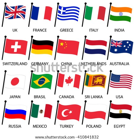 simple color curved flags of different country collection eps10 #410841832