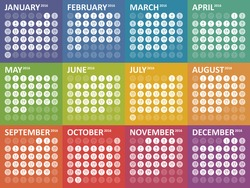 Simple colorful calendar for 2016. Week starts Sunday