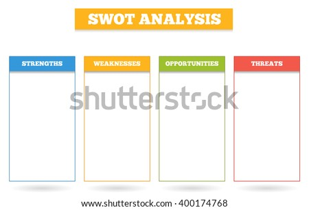 Simple colorful chart for SWOT analysis - box for strenghts, weaknesses, opportunities and threats