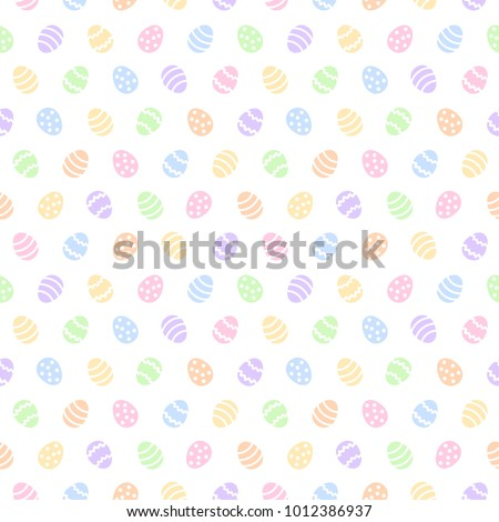 Simple colorful Easter seamless vector pattern. Various painted stylized tiny eggs regular texture. Flat design Easter, spring background. Multicolor template for cards, greetings. Soft pastel colors.