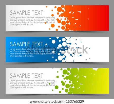 Simple colorful horizontal banners - with circle motive - red, blue and green #153765329