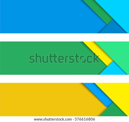 Simple colorful horizontal vector banners in a material design style