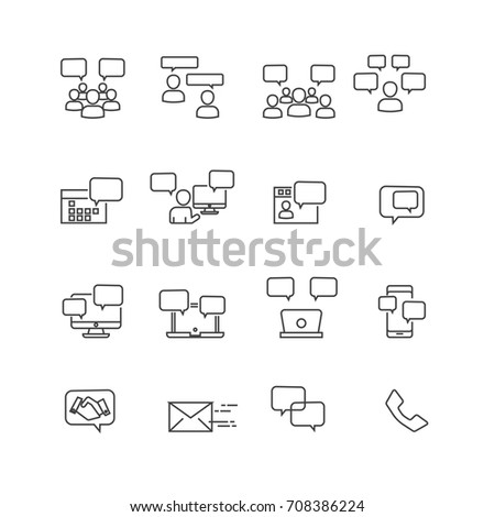 Simple Communication and internet  icons set,Vector