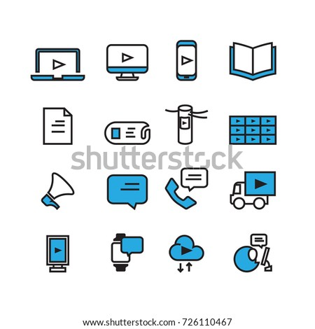 Simple Communication and technology icons set,Vector