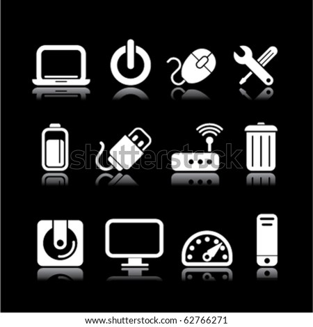 simple computer on black - stock vector