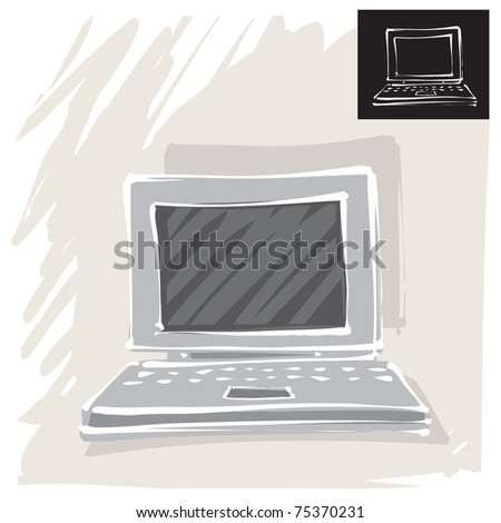 simple computer (painterly drawing)