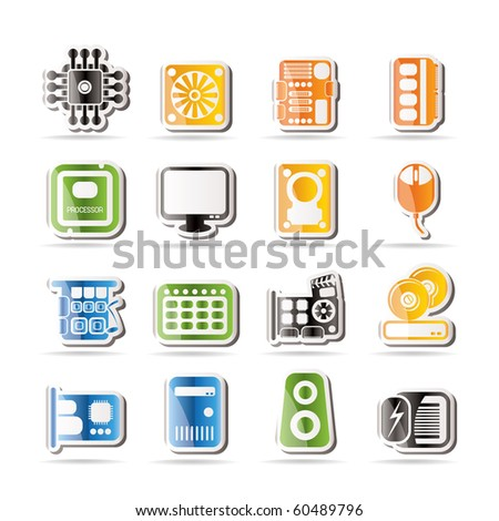 Simple Computer  Performance and Equipment Icons - Vector Icon Set