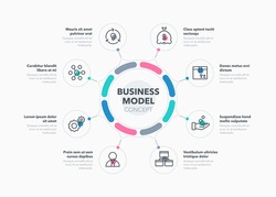 Simple concept for business model diagram with eight steps and place for your description. Flat infographic design template for website or presentation.