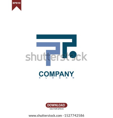 Simple concept initial letter PR, PTR logo vector design Photo stock ©
