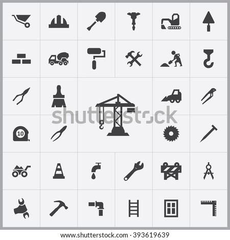Simple construction icons set. Universal construction icons to use for web and mobile UI, set of basic construction elements