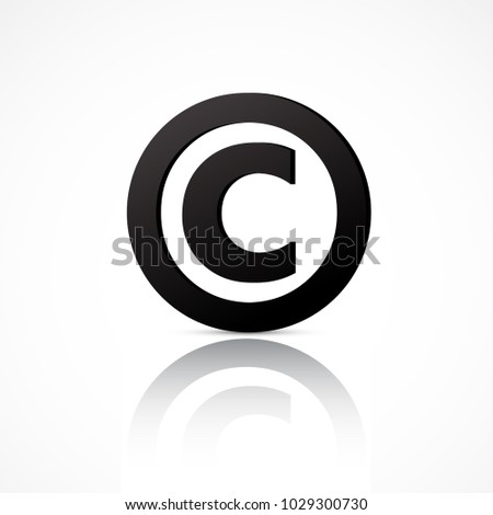 Simple Copyright Symbol With Reflection Isolated On White Background