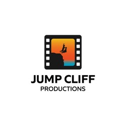 Simple Couple Jump Off Cliff Wedding Ceremony Logo Design For Business
