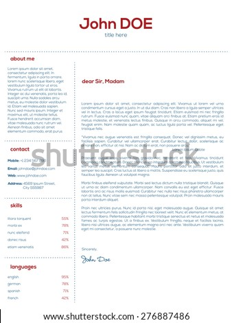 simple cover letter design for resumes and cvs stock