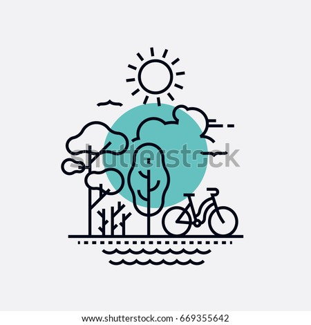 Simple creative vector concept on park, nature and outdoor activity with primitive geometric flat line trees, bicycle, sun, birds and water. Fresh air summer recreation, weekend in the park - Shutterstock ID 669355642