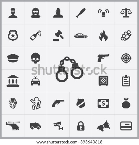 Simple crime icons set. Universal crime icons to use for web and mobile UI, set of basic crime elements