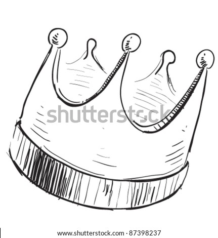 Simple crown icon. Hand drawing cartoon sketch illustration in childish doodle style