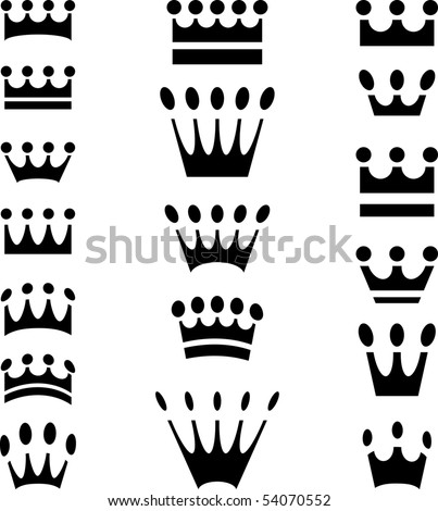 simple crown icons in eighteen variations