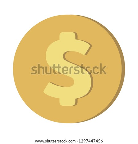 Simple Currency money symbols icon : US Dollar USD coin vector illustration