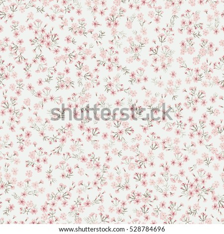 Simple cute pattern in small flowers of maiden pink. Shabby chic millefleurs. Liberty style. Floral seamless background for dress, manufacturing, wallpapers, print, gift wrap and scrapbooking.