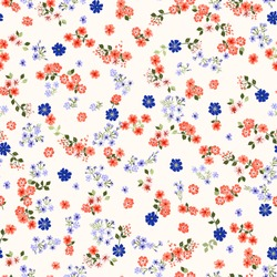 Simple cute pattern in small-scale contour flowers. Millefleurs. Liberty style. Floral seamless background for textile or book covers, manufacturing, wallpapers, print, gift wrap and scrapbooking.