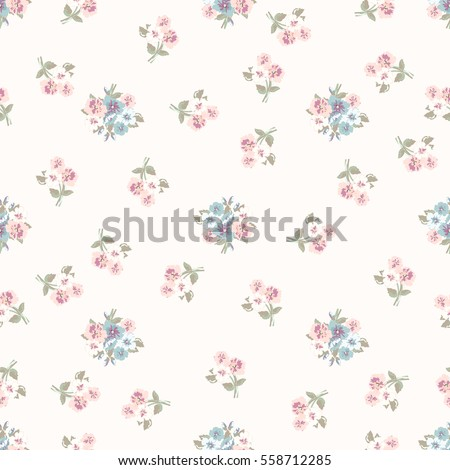 Simple cute pattern in small-scale flowers. Millefleurs. Liberty style. Floral seamless background for textile or book covers, manufacturing, wallpapers, print, gift wrap and scrapbooking.