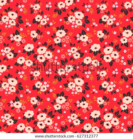 Simple cute pattern in small white and pink flowers on bright red background. Liberty style. Ditsy print. Floral seamless background. The elegant the template for fashion prints.