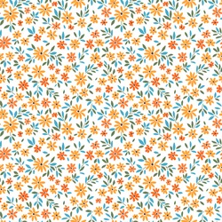 Simple cute pattern in small yellow flowers on white background. Liberty style. Ditsy print. Floral seamless background. The elegant the template for fashion prints.