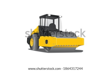 simple 3d Vector yellow compactor, vibratory Road roller and asphalt paver, heavy equipment vector illustration eps 10. Isolated in white background Foto stock ©