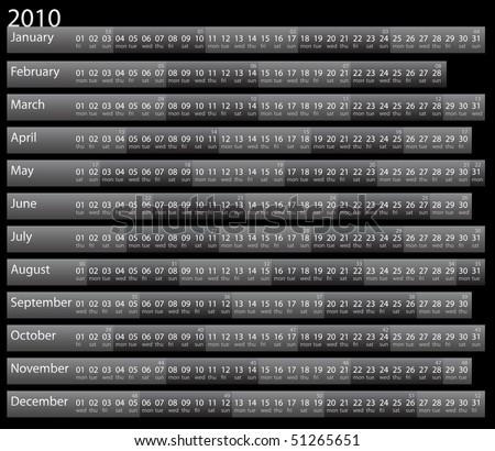 Simple dark 2010 calendar with week notations