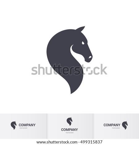 Simple Dark Horse Head for Mascot Logo Template on White