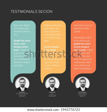 Simple dark minimalistic testimonial review section layout template with three vertical testimonials, photo placeholders, quotes and color speech bubbles with review text