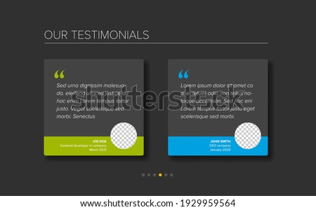 Simple dark minimalistic testimonial review section layout template with two testimonials, testimonial photo placeholders, quotes and blue green color accent Сток-фото ©