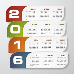 Simple design calendar 2016 year vector design template.12 mounts from January-December 2016