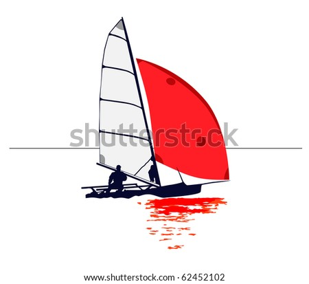 Clean illustration of a dinghy with red sail : Shutterstock