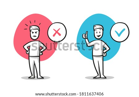 Simple drawn man in angry and happy pose. Concept for pro and contra, do and don't, yes and no, line and dislike. Hand drawn cartoon sketch vector illustration, flat coloring.  Foto stock ©