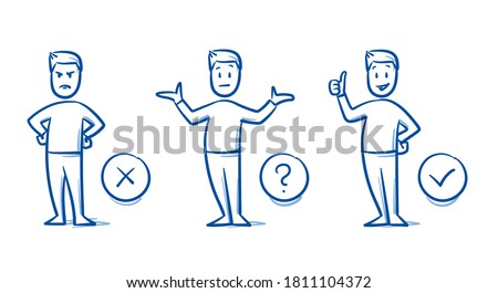 Simple drawn man in 3 states: angry, undecided, happy. Concept for pro & contra, do & don't, line & dislike, or choosing something. Hand drawn blue line art cartoon vector illustration.  Foto stock ©