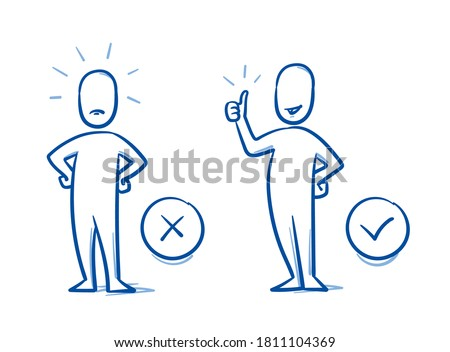 Simple drawn neutral person in 2 poses: angry and happy. Concept for pro & contra, do & don't, line & dislike. Hand drawn blue line art cartoon vector illustration.  Foto stock ©