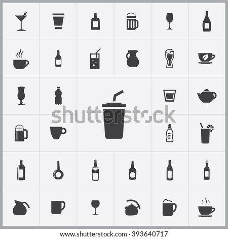 Simple drink icons set. Universal drink icons to use for web and mobile UI, set of basic drink elements