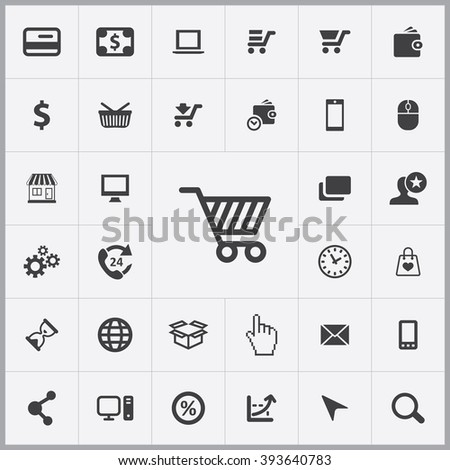 Simple e-commerce icons set. Universal e-commerce icons to use for web and mobile UI, set of basic e-commerce elements