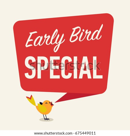 Simple 'Early Bird Special' discount or sale event banner or poster vector template in cartoon style
