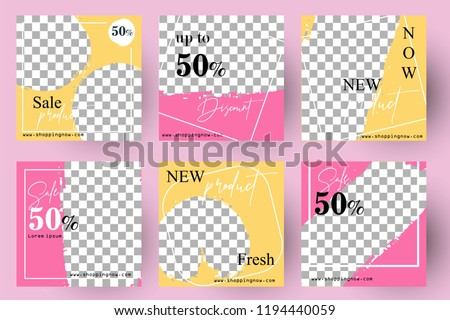 Simple Editable Post Template Social Media Banners for Digital Marketing. Promo Brand Fashion. Vector Illustration