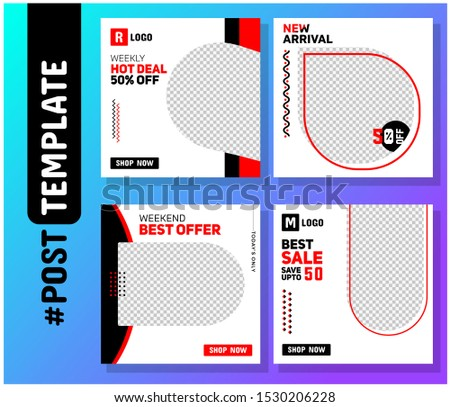 Simple Editable Post Template Social Media Banners for Digital Marketing. Promo Brand Fashion. Facebook, Instagram, Twitter Banner Ads. Vector Illustration