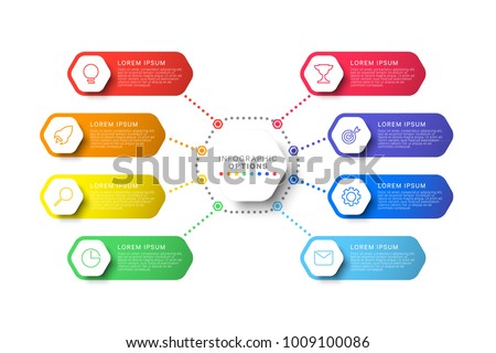 simple eight steps design layout infographic template with hexagonal elements. business process diagram for brochure, banner, annual report and presentation