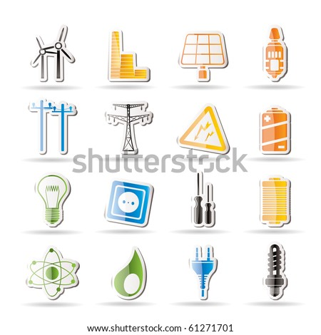 Simple Electricity, power and energy icons - vector icon set